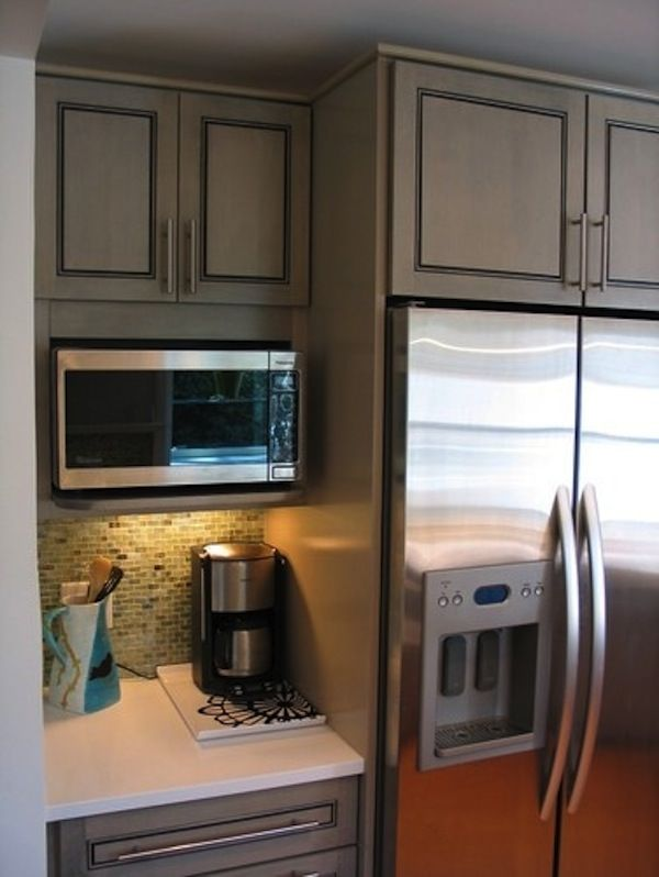 Built-In Wall Microwave: Often seen above/in conjunction with wall ovens, wall microwaves are one of the most popular built-in options. Description from nicelydonekitchens.com. I searched for this on bing.com/images