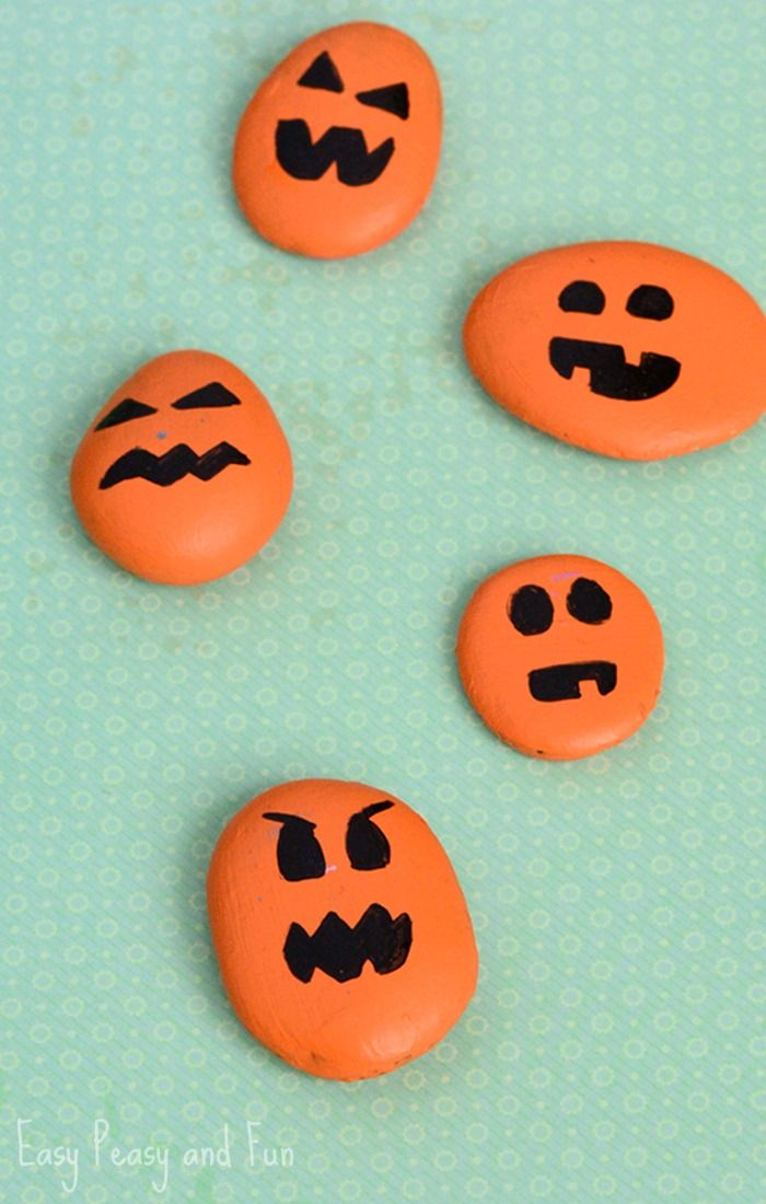 painted pumpkin rock craft halloween craft - Halloween Crafts For Preschoolers Easy