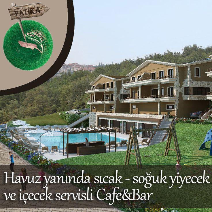 Bademli Patika Evlerinde, havuz yanında sıcak - soğuk yiyecek ve içecek servisli Cafe&Bar mevcuttur. #bursa #bademli #villa #ev #yatırım #patika #cafe #bar #havuz #yiyecek #icecek