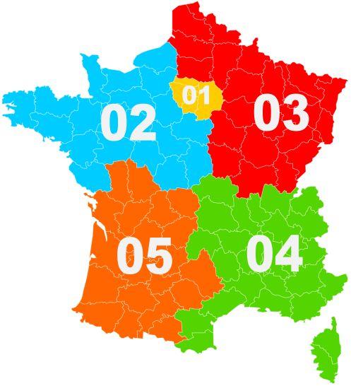 Carte des indicatifs téléphoniques de France métropolitaine
