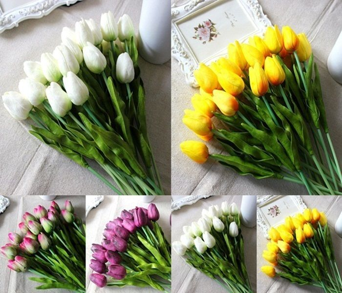 12/24 Tulip Artificial Flower Latex Real Touch Bridal Wedding Bouquet Home Decor #Unbranded
