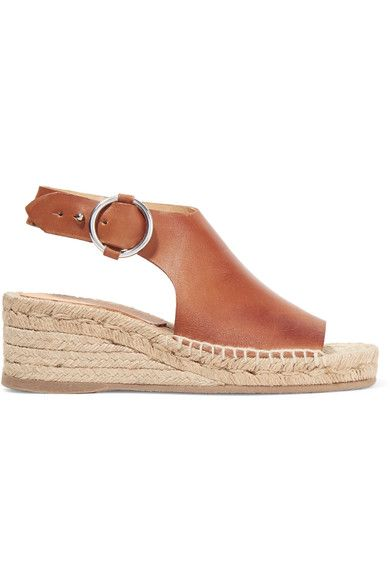 rag & bone - Calla Leather Espadrille Wedge Sandals - Tan - IT35