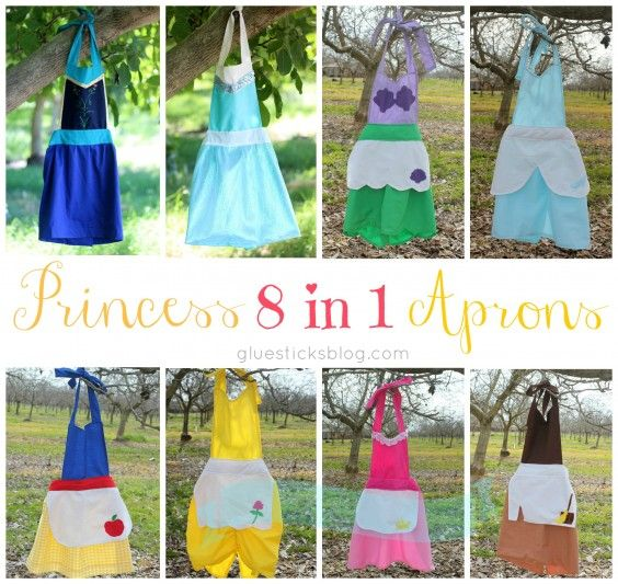 Princess Aprons 8 in 1 Tutorial & PDF Pattern (Princesses:  Snow White, Aurora, Cinderella, Ariel, Belle, Cinderella's Work Apron, Elsa (FROZEN) & Anna (FROZEN) l  Glue Sticks