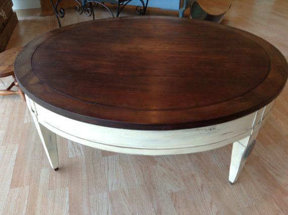 Large Round Vintage Coffee Table by FurnitureBliss on Etsy, $150.00