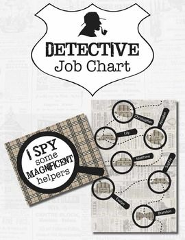 """Create a mystery detective themed Job Chart for your classroom using the Mystery Path, Plaid Detective Shapes, and Spy Glasses included in this Job Chart pack. A sample page is included to offer an example for assembly.There are two size options for the """"I Spy...some Magnificent Helpers"""" title sign: letter (8.5""""x11"""") and tabloid size (11""""x17"""").The Mystery Path (Detective Helper Chart) is tabloid size (11""""x17"""") and serves as the base for the Job Chart, on which the Plaid Shape """"jobs"""" will be…"""