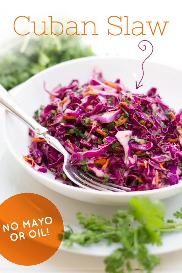 This flavorful slaw is made without mayo or oil, making it a great option for a healthy side dish.