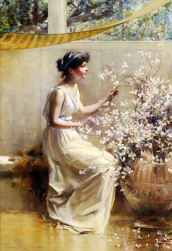 "Coates Jones Francis - Woman Arranging Flowers  (from <a href=""http://www.oldpainters.org/picture.php?/50402/category/16338""></a>)"