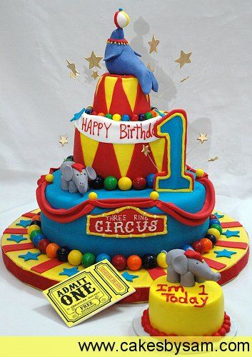 Circus-themed first birthday party cake and companion smash cake.