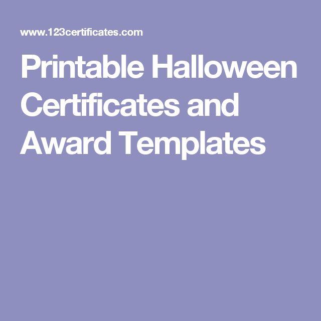 Printable Halloween Certificates and Award Templates