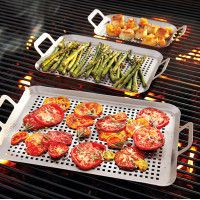 http://www.surlatable.com/product/PRO-901124/Sur-La-Table-Stainless-Steel-Grill-Grids Easily grill cubed meats, shrimp, small vegetables and more—stainless steel grid prevents small food items from falling through grill grates and into flames. Our new grid design offers the optimal grilling surface, along with comfortable, sturdy handles for easy lifting and secure transport. Use on gas, charcoal, or electric grills.