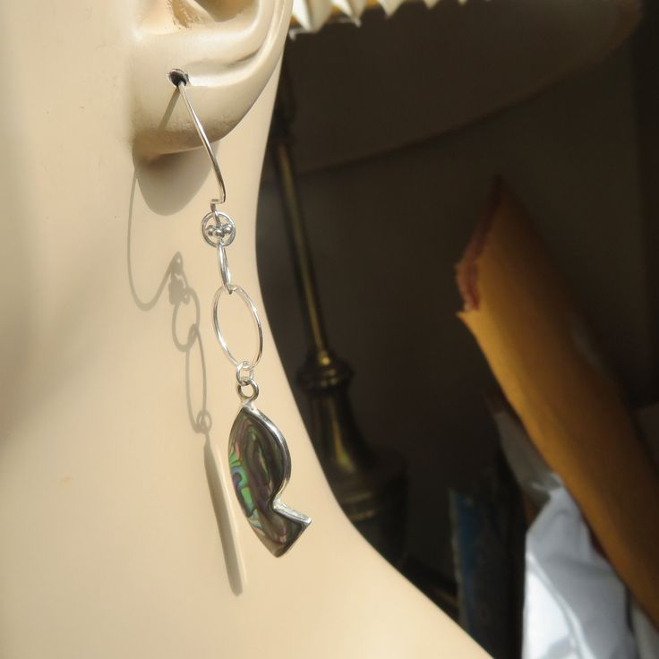 8.3 Grams Wt Handcrafted Genuine Alpaca Mexico Abalone Sterling Silver Dangle 925 On New Flower 925 Ear Wire Earrings
