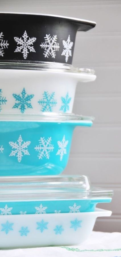 Snowflake Pyrex - i have the blue ones with white snow flakes