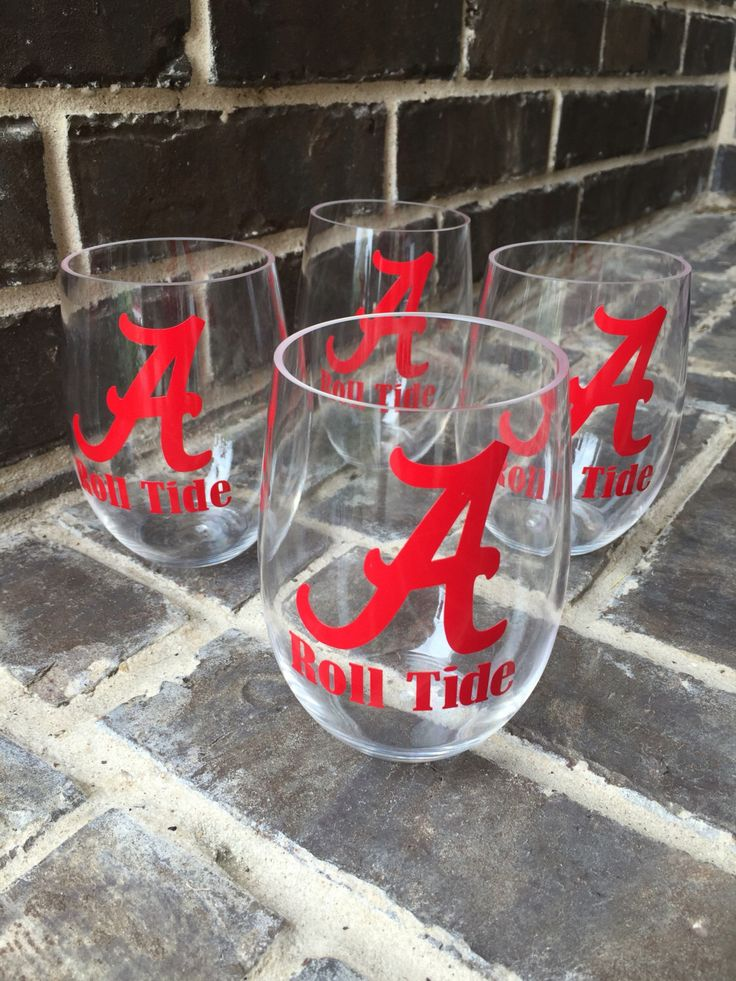 A personal favorite from my Etsy shop https://www.etsy.com/listing/459757350/set-of-4-alabama-roll-tide-plastic-wine