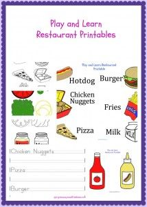 Play and Learn Restaurant Printable