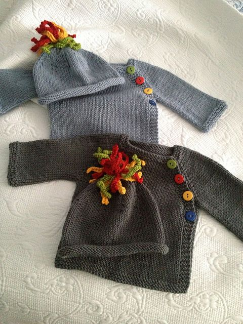 Ravelry: Project Gallery for Puerperium Cardigan Cute with the hats