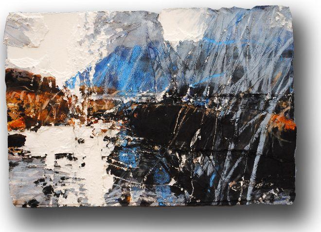 'Steel Grey Morning Ben Dampf' Mixed Media on Paper 39 x 58 cm.