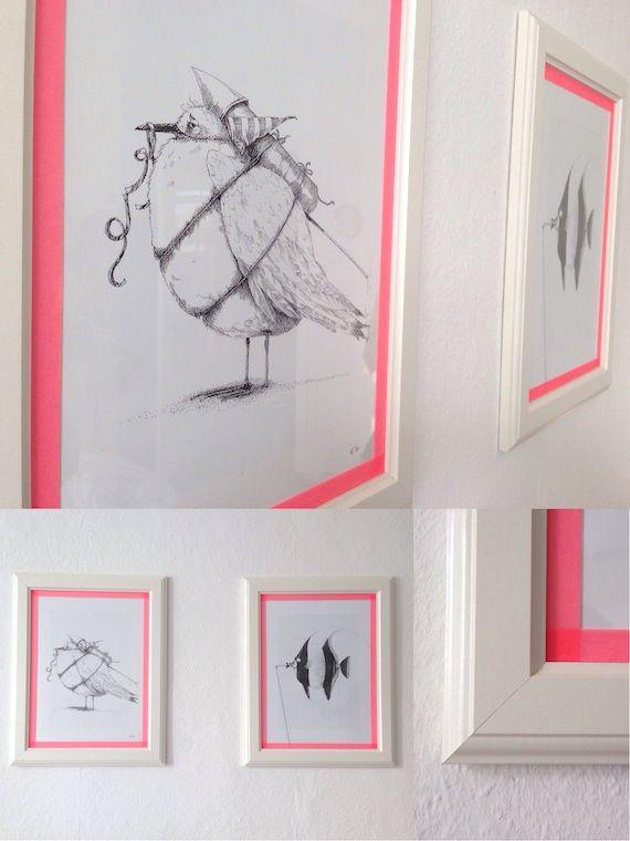 Le DIY du jour : encadrer des dessins avec du WashiTape rose fluo ! Une super idée trouvée par Kitty crumpets, à découvrir sur son blog <3