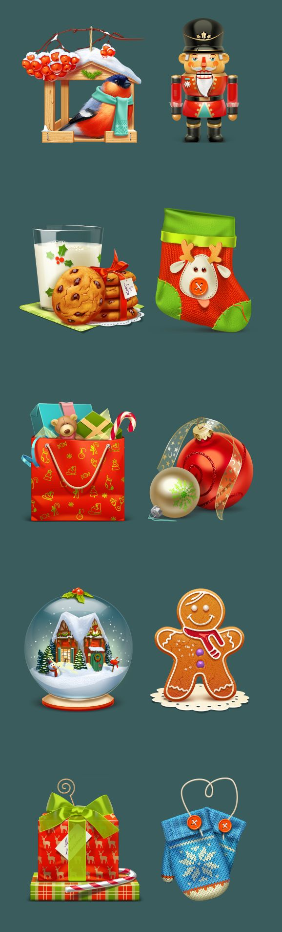 A quality Christmas icon set with 10 icons in resolution 256×256px. Free to use in commercial and private projects.