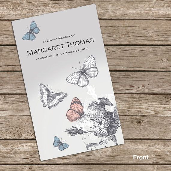 lovely butterfly prayer card memorial card funeral card personalized printable card in. Black Bedroom Furniture Sets. Home Design Ideas