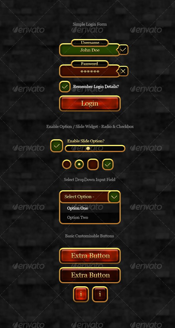 RPG Gold User Interface Elements