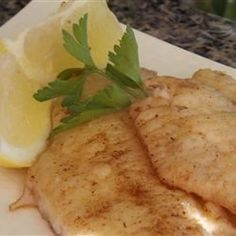 Fresh perch fillets pan-fried in brown butter, drizzled with a squeeze of lemon: spectacularly delicious!