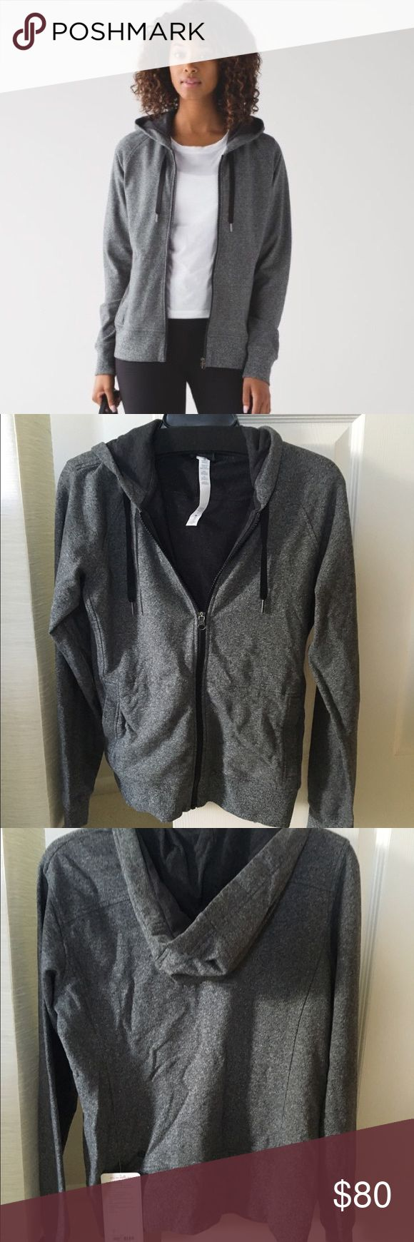 NWT!  Lululemon Split Hoodie, size 6!  Dark gray Brand new with tags, never worn lululemon hoodie in charcoal gray, size 6.  Super cute and comfortable- perfect for throwing on after a workout.  French Terry fabric is 4-way stretch.  Zippered front lululemon athletica Jackets & Coats