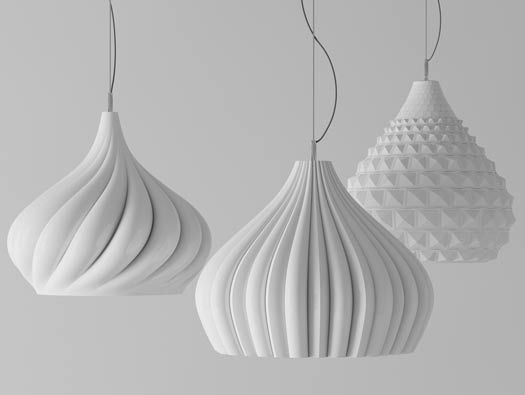 Amazing pendant lamp shades -- I like how the one on the right has an updated milkglass style pattern.