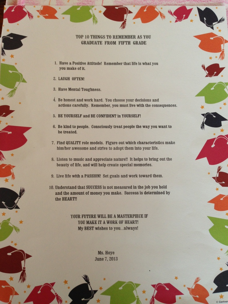 Words of wisdom at 5th grade graduation - from Clay's wonderful teacher
