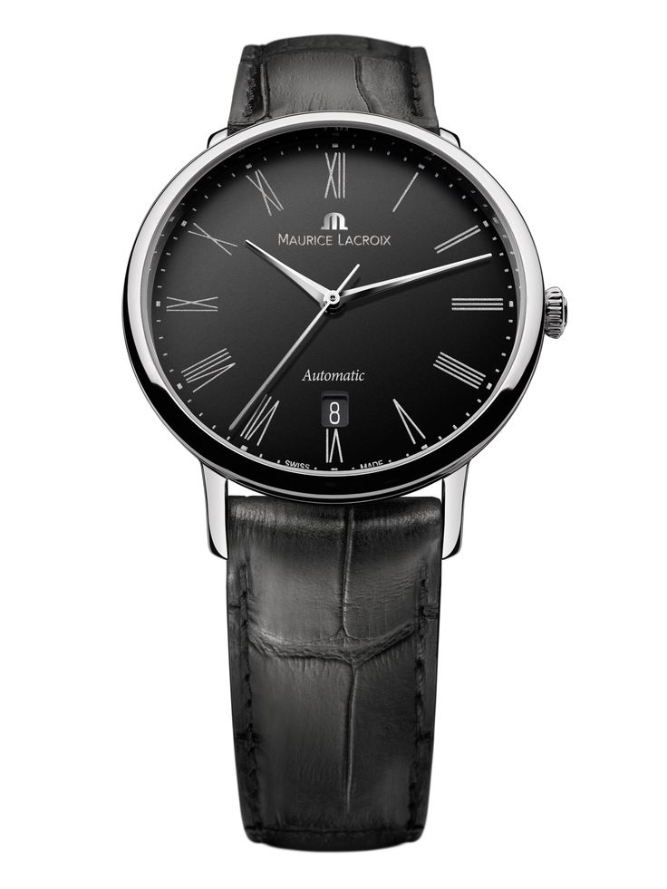 Les Classiques Tradition. Featuring automatic movement ML 155, date, black dial. Case in stainless steel, 38mm. Genuine leather strap. Water resistant to 30m. LC6067-SS001-310.