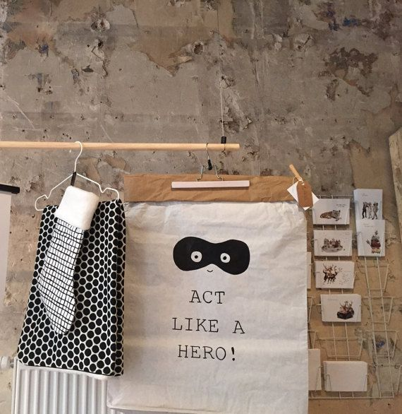 Act like a Hero // white paper bag. Hand painted by LotsofJess