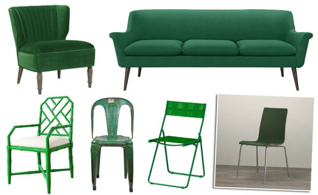 Make a bold statement with emerald green seating in your home.