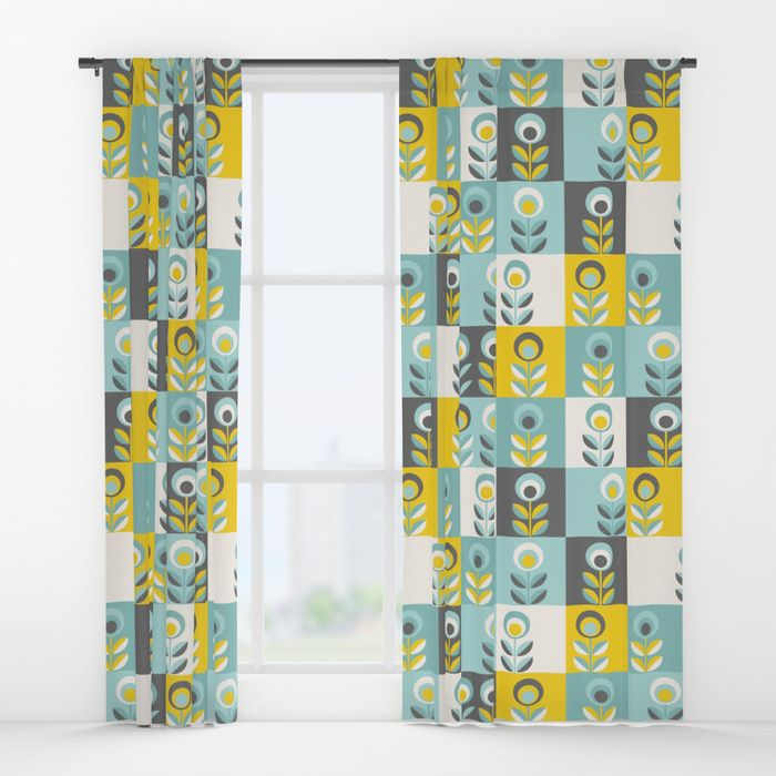 Window curtains - Scandinavian florals 04, teal, yellow and grey. Design by Slanapotam