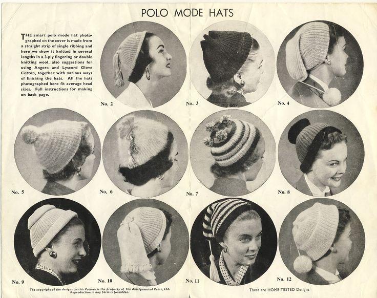 Bestway hat pattern, No. A2578. Scan of the inside of the leaflet. Vintage…