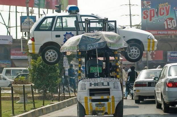 Fuuny Cars in Pakistan | Traffic Police Car Lifter lifts Police's Car