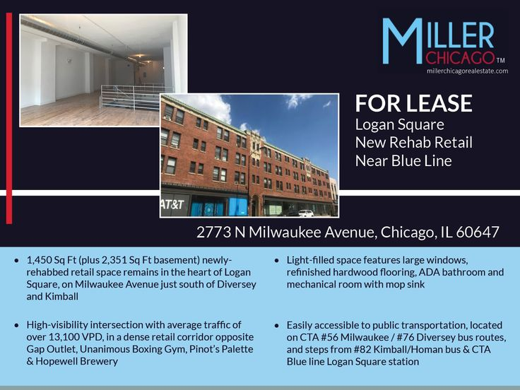 1 RETAIL SPACE REMAINS | Logan Square 1.5 Blocks From Blue Line | FOR LEASE