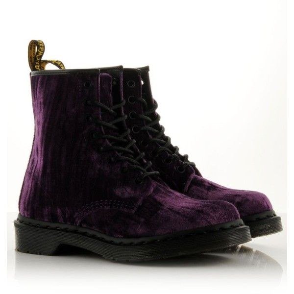 DR. MARTENS Classic 1460 Velvet Boots ($110) ❤ liked on Polyvore