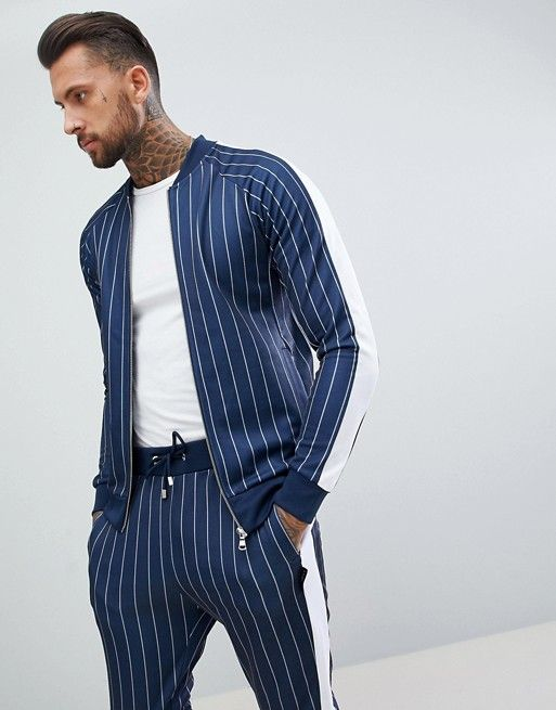 658b404870 The Couture Club Muscle Tracksuit In Pinstripe Navy | Alınacak ...