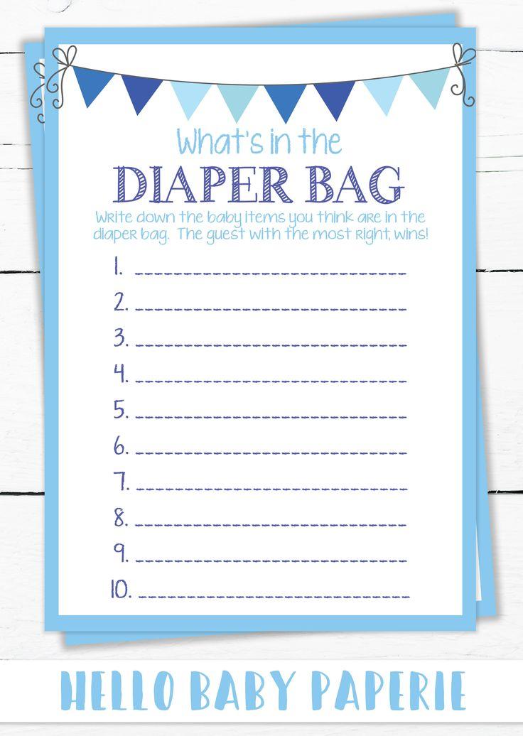 Baby Shower Game, Boy Baby Shower, Blue Baby Shower, Diaper Bag Game, Baby Shower Ideas, Little Man Baby Shower, 1087