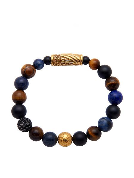 Beaded Bracelet With Gold Lock and Gold Bead