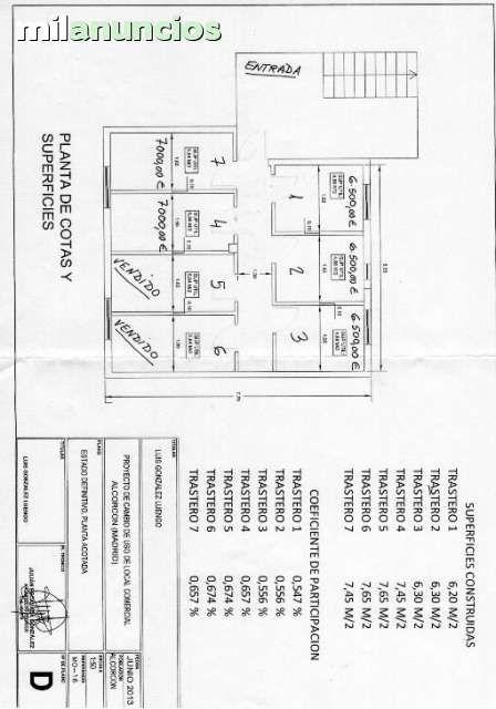 . Se venden en el centro de Alcorcon C/Guipuzcoa, trasteros muy amplios de 7 m2 a 7.000,� Y de 6,4 m2 a 6,500,� , + gastos del registro de la propiedad y de escritura del notario, por cuenta del comprador. (los gastos de comunidad, una vez constituida, ser
