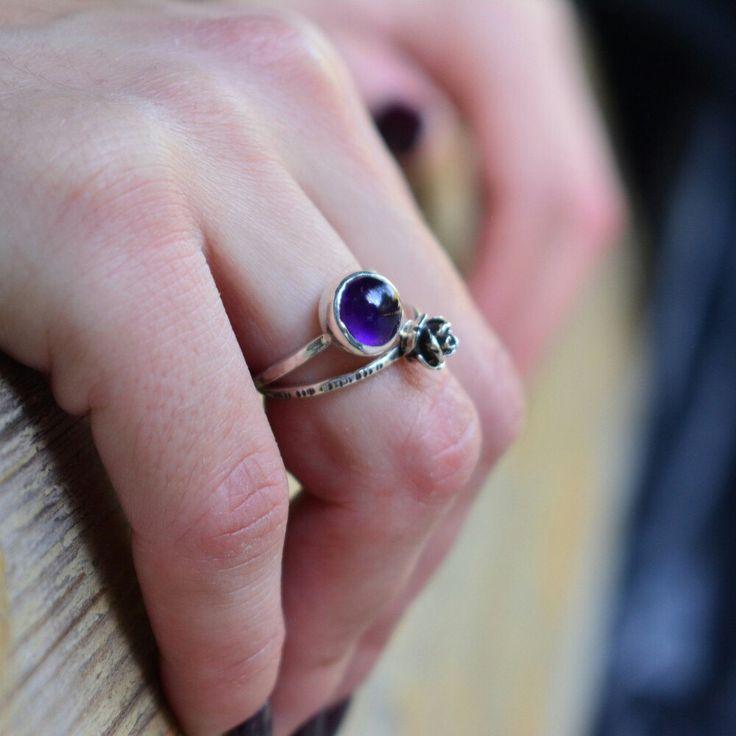 Rose and amethyst rings . Minimalism. (Photoshoot by ioanna morfinou)