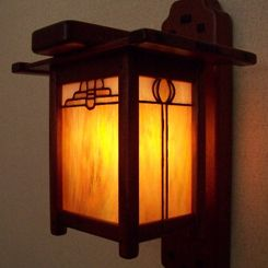 Craftsman style wall lanterns.  Great for front porch entryway.