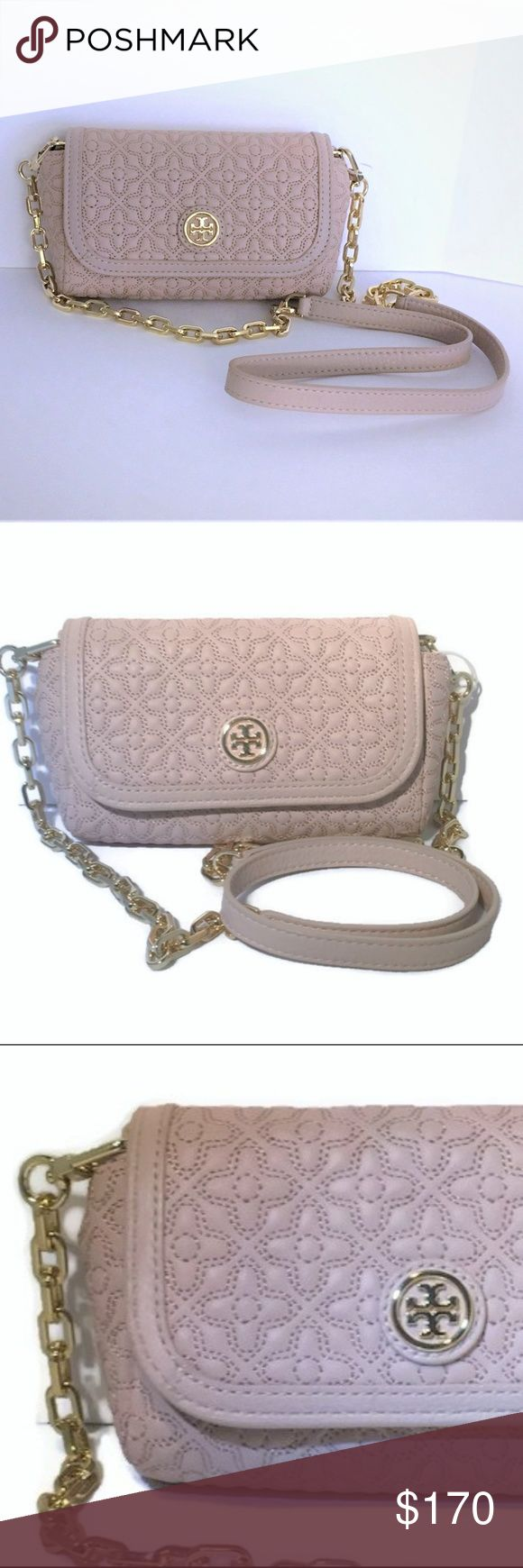 """Tory Burch Quilted Small Crossbody - Light Oak NWT This beautiful BRAND NEW quilted cross-body is a compact that fits your basic essentials, making it ultra practical. It comes with a removable chain strap, so you can wear it on your shoulder as a mini bag or carry it as a clutch.  Quilted Italian leather Flap Snap Closure  2 Interior Slip Pockets Logo Jacquard Lining Removable Chain & Leather CB Strap (22"""" Drop) Gold Tone hardware 6: x 4"""" x 1.7"""" Stored in Smoke-Free Environment  Gift Receipt Included TB Gift Bag Available Upon Request Tory Burch Bags Crossbody Bags"""