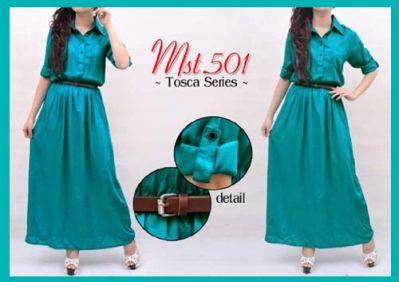 Maxi Tosca >  Ukuran All Size  P = 133 cm L = 51 cm  Bahan Rayon + Belt >  IDR. 90,000 >  ORDER > SMS : 085643087440