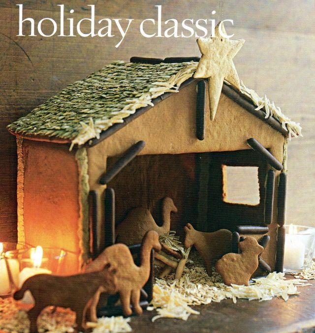 Great idea! Instead of a gingerbread house, make a gingerbread creche. Kul idé! Baka en pepparkakskrubba som årets pepparkakshus.
