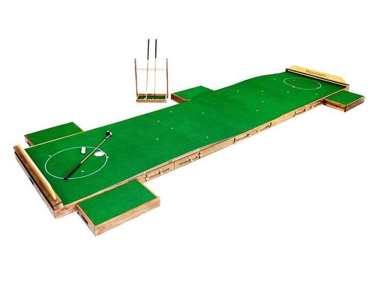 This custom-made, two-cup indoor putting green is the ultimate accoutrement for…