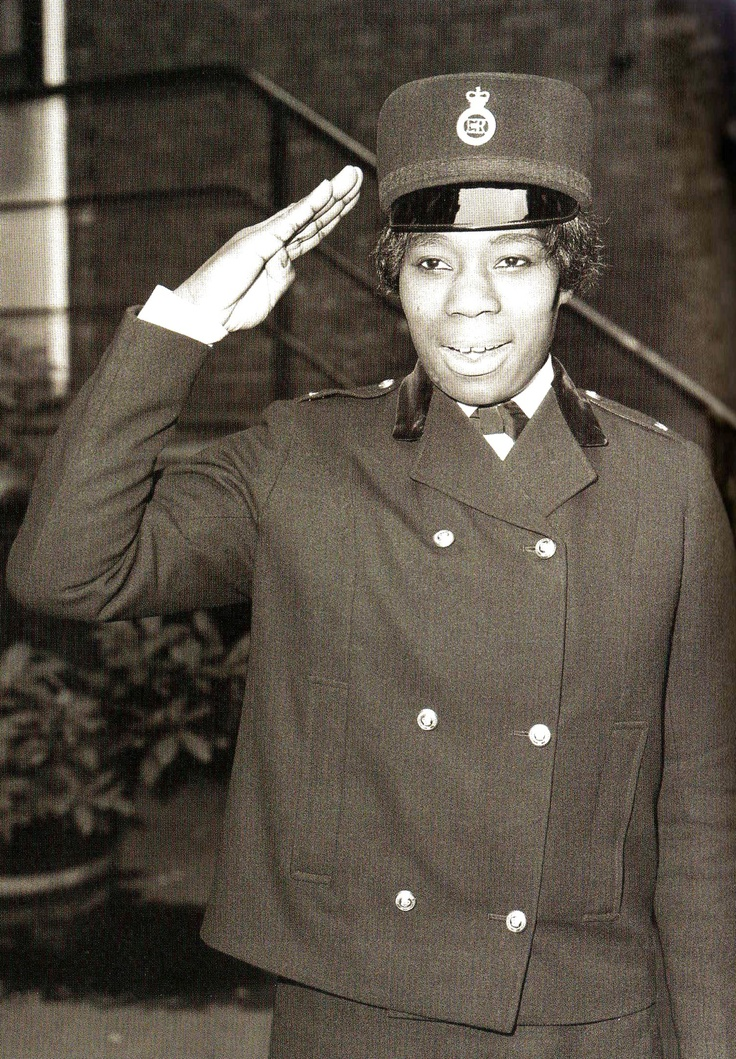 """""""I didn't set out to make history; I just wanted a change of direction."""" Portrait of Sislin Fay Allen, Britain's first black policewoman, London, England, United Kingdom, 1968, photographer unknown."""