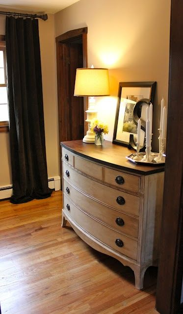 DIY: Anne Sloane Chalk Paint (for drawers) Followed by hand sanding and a coat of dark wax.  Top dark walnut stain and dark wax