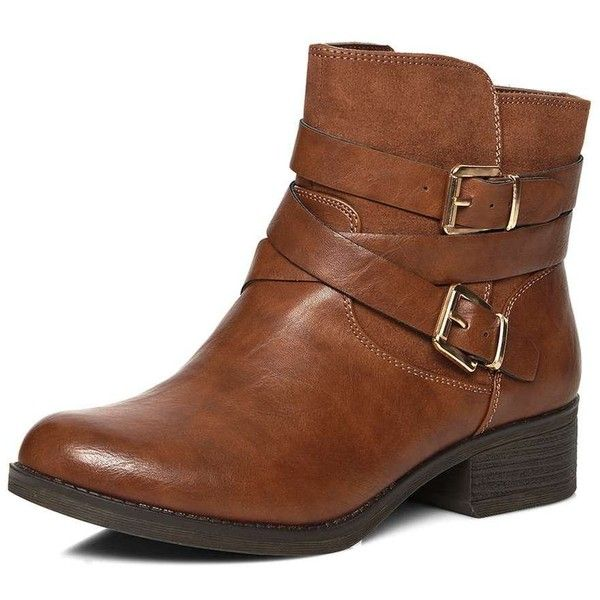 Dorothy Perkins **Wide Fit Tan Wagon Biker Boots ($59) ❤ liked on Polyvore featuring shoes, boots, ankle booties, brown, ankle boots, tan ankle boots, moto boots, brown ankle boots and motorcycle boots