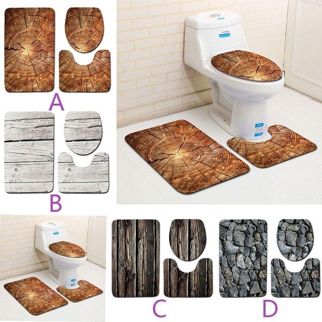 3pcs Bath Mat Sets Creative Wood Pattern Non Slip Bathroom Bath
